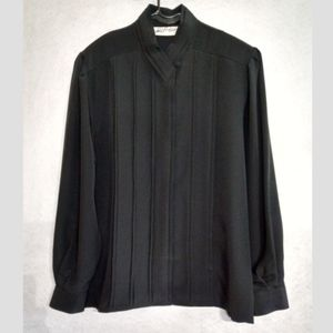 Yves St. Clair Vintage blouse black ruffle size 12
